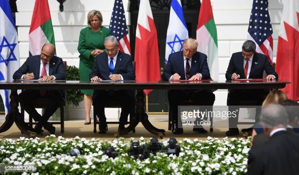 Bahrain Foreign Minister Abdullatif alZayani Israeli Prime Minister Benjamin Netanyahu US President Donald Trump and UAE Foreign Minister Abdullah...