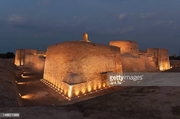 Bahrain Fort (Qal'at al Bahrain), at night.