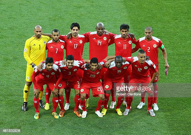 Bahrain line up prior to the 2015 Asian Cup match between IR Iran and Bahrain at AAMI Park on January 11 2015 in Melbourne Australia