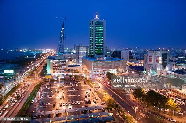 bahrain, manama, cityscape at dusk - manama stock pictures, royalty-free photos & images