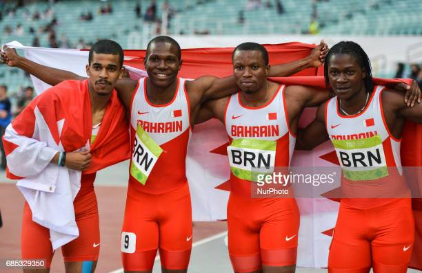 Bahrain Team celebrate their win in Men's 4 100m Relay during day four of Athletics at Baku 2017 4th Islamic Solidarity Games at Baku Olympic Stadium...