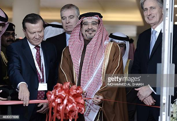 Bahraini Crown Prince Salman bin Hamad AlKhalifa opens the Bahrain International Airshow 2014 in Sakhir south of the capital Manama on January 16...