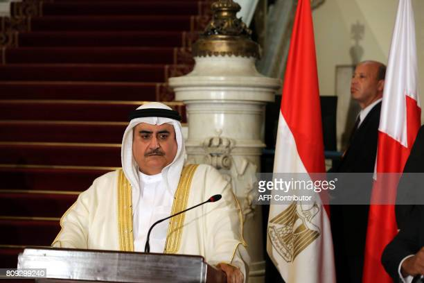 Bahraini Foreign Minister Khalid bin Ahmed alKhalifa talks to reporters during a joint press conference with his Emirati Egyptian and Saudi...