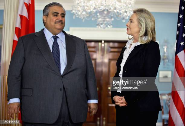 Bahraini Foreign Minister Shaikh Khalid bin Ahmed al-Khalifa and U.S. Secretary of State Hillary Clinton make brief remarks to the press in the...