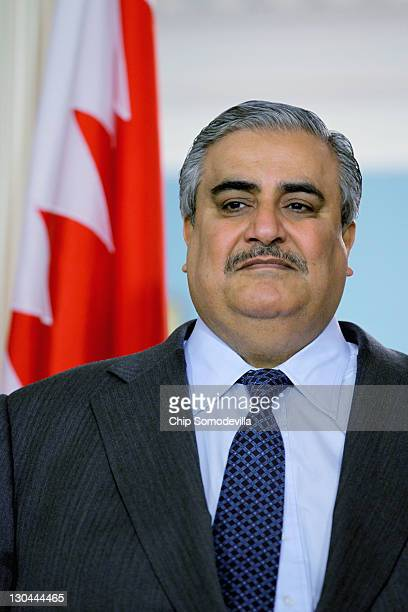 Bahraini Foreign Minister Shaikh Khalid bin Ahmed al-Khalifa participates in a media availability in the Treaty Room before bilaterial meetings with...