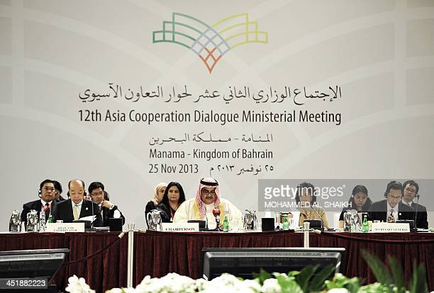 Bahraini Foreign Minister Sheikh Khaled bin Ahmed alKhalifa speaks during the opening ceremony of the 12th Asia Cooperation Dialogue Ministerial...