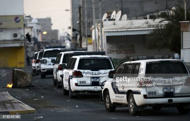 Bahraini police arrive to disperse protestors during clashes following the funeral of Ali Abdulghani whose family says died of injuries suffered in a...