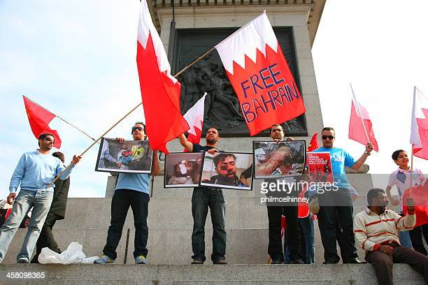 bahraini protesters in london - bahrain stock pictures, royalty-free photos & images