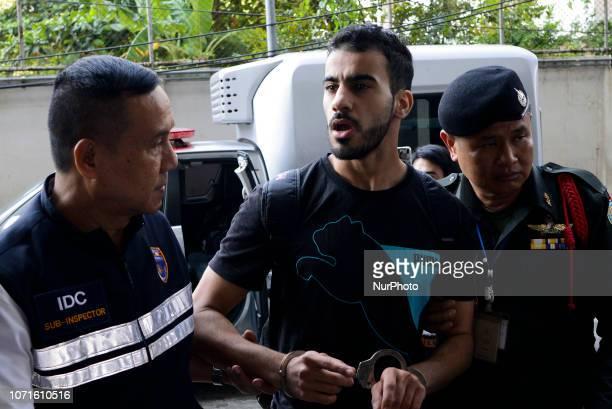 Bahraini refugee Hakeem AlAraibi a former Bahrain national team footballer arrives at the Criminal Court in Bangkok Thailand 11 December 2018
