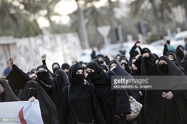 Bahraini women take part in a protest in the village of Jidhafs west of Manama against the execution of prominent Shiite Muslim cleric Nimr alNimr by...
