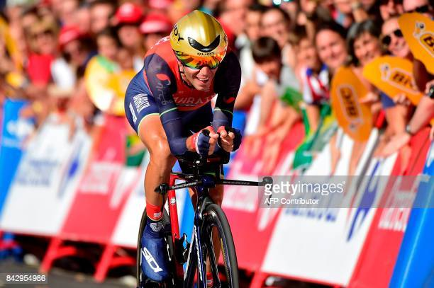 BahrainMerida's Italian cyclist Vicenzo Nibali sprints to take the third place of the 16th stage of the 72nd edition of La Vuelta Tour of Spain...