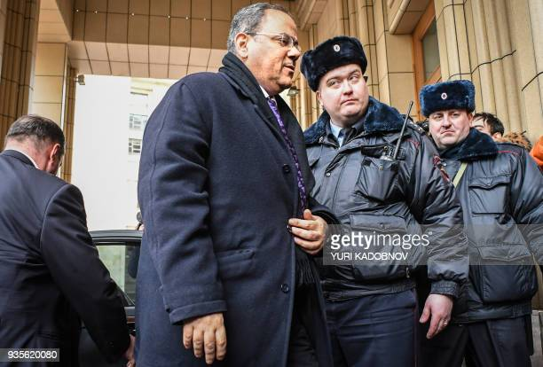 Bahrain's Ambassador to Russia Ahmed Abdulrahman Al Saati arrives at the Russian Foreign Ministry headquarters to attend a meeting with the...
