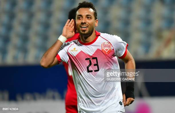 Bahrain's defender Jamal Rashid celebrates after scoring a goal from a penalty shot against Yemen during their 2017 Gulf Cup of Nations group match...