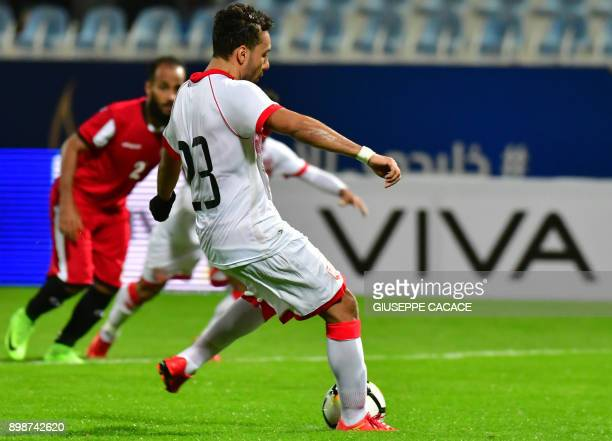 Bahrain's defender shoots a penalty against Yemen during their 2017 Gulf Cup of Nations group match at Al Kuwait Sports Club Stadium in Kuwait City...