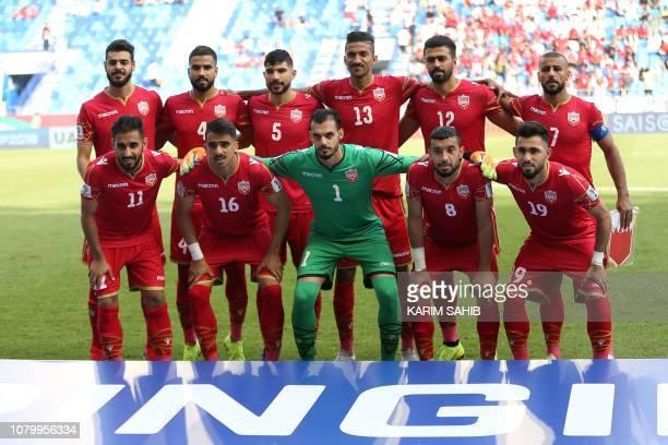 Bahrain's defender Waleed Al Hayamm Bahrain's defender Hamad Alshamsan Bahrain's forward Mohamed Al Romaihi Bahrain's defender Ahmed Juma Bahrain's...