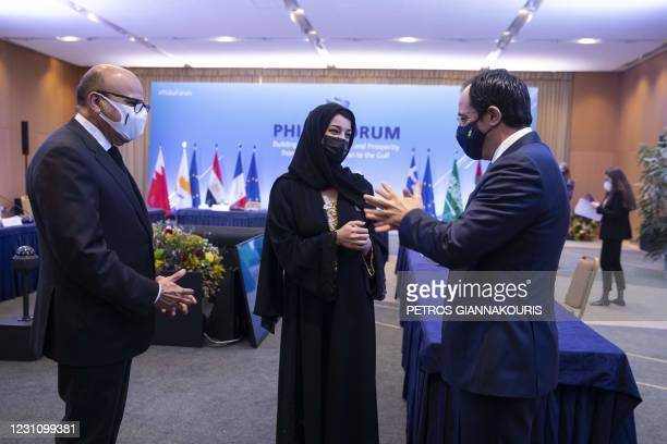 Bahrain's Foreign Affairs Minister Abdullatif Al-Zayani , Reem Ebrahim Al-Hashimi, Emirati Minister of State for International Cooperation, and...