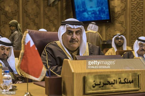 Bahrains Foreign Minister Khalid Bin Ahmad alKhalifa attends an emergency meeting of the Arab League foreign ministers in the Egyptian capital Cairo...