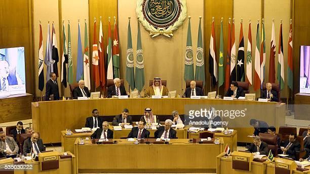 Bahrain's Foreign Minister Khalid bin Ahmed alKhalifa Palestinian President Mahmood Abbas and SecretaryGeneral of the Arab League Nabil Elaraby...
