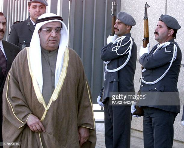 Bahrain's Foreign Minister Sheikh Mohammad bin Mubarak alKhalifa arrives at Beirut airport 10 Mars 2000 for the Arab League meeting Arab League...