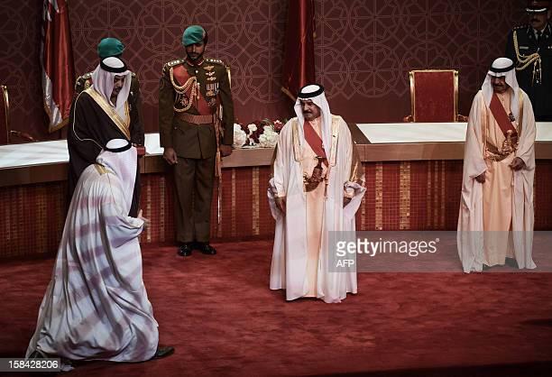 Bahrain's King Hamad bin Issa alKhalifa his son Shaikh Nasser Bin Hamad AlKhalif and the Gulf kingdom's Prime Minister Khalifa bin Salman alKhalifa...