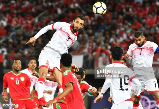 Bahrain's Mahdi Abd alJaber heads the ball to score an own goal during the 2017 Gulf Cup of Nations semifinal football match between Oman and Bahrain...