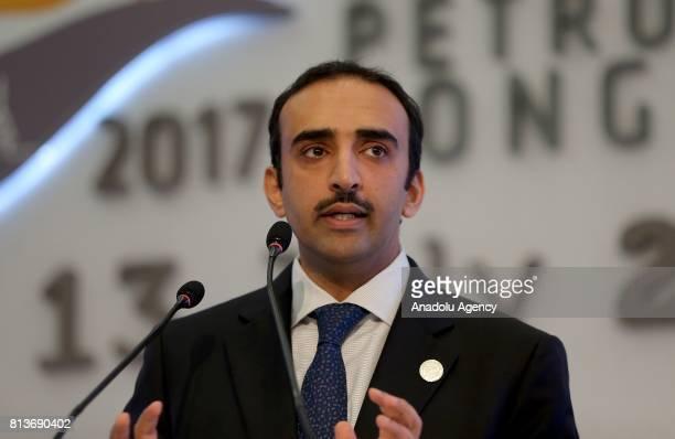 Bahrain's Minister of Oil Mohammed bin Khalifa bin Ahmed Al Khalifa speaks during the 22nd World Petroleum Congress in Istanbul Turkey on July 13 2017