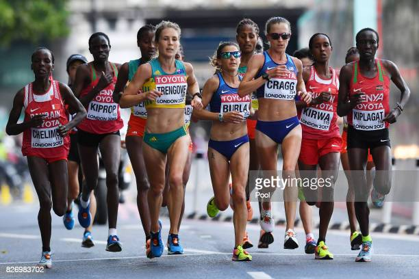 Bahrain's Rose Chelimo Australia's Jessica Trengove US athlete Amy Cragg and Kenya's Edna Ngeringwony Kiplagat compete in the Women's Marathon during...