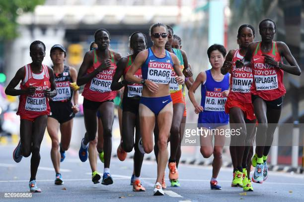 Bahrain's Rose Chelimo Kenya's Helah Jelagat Kiprop US athlete Amy Cragg and Kenya's Edna Ngeringwony Kiplagat compete in the Women's Marathon during...