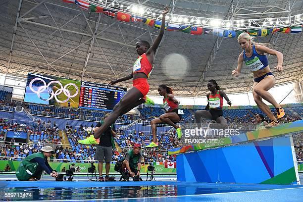 TOPSHOT Bahrain's Ruth Jebet Kenya's Beatrice Chepkoech Kenya's Hyvin Kiyeng Jepkemoi and USA's Emma Coburn compete in the Women's 3000m Steeplechase...