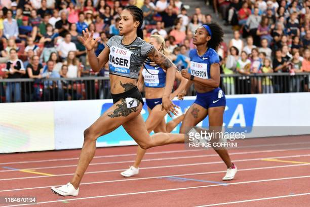 Bahrain's Salwa Eid Naser crosses the finish line and wins the Women 400m during the IAAF Diamond League competition on August 29 in Zurich.