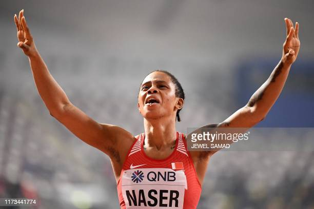 TOPSHOT Bahrain's Salwa Eid Naser reacts after winning the Women's 400m final at the 2019 IAAF Athletics World Championships at the Khalifa...