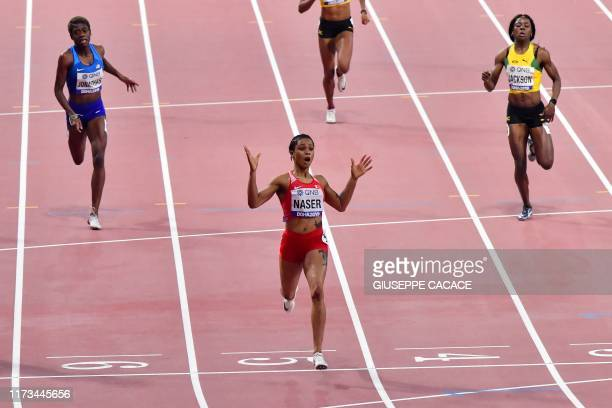 Bahrain's Salwa Eid Naser wins the Women's 400m final at the 2019 IAAF Athletics World Championships at the Khalifa International stadium in Doha on...