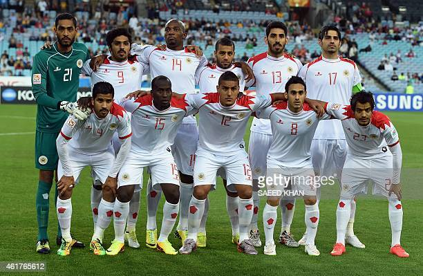 Bahrain's team pose for pictures prior to their Group C football match against Qatar at the AFC Asian Cup in Sydney on January 19 2015 AFP PHOTO /...