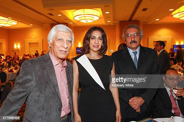 Bahram Beyzaie Mojdeh Shamsaie and and Dr Milani pose for a photograph at the PARS Equality Center 4th Annual Nowruz Gala at Marriott Waterfront...