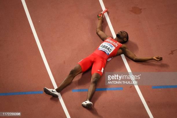 Bahrein's Abbas Abubakar Abbas reacts after the Mixed 4 x 400m Relay final at the 2019 IAAF World Athletics Championships at the Khalifa...