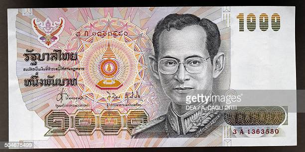 Baht banknote, 1990-1999, obverse, portrait of king Rama IX . Thailand, 20th century.