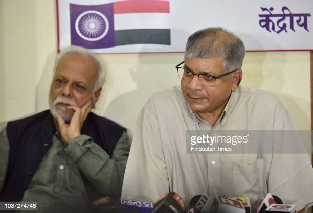 Bahujan Mahasangh Chief Prakash Ambedkar addressing to media during the press conference at Bharip Bahujan Mahasangh Office at Ballard Estate on...