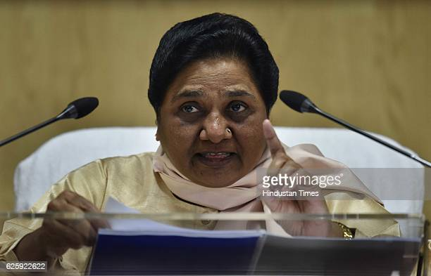 Bahujan Samaj Party Chief Mayawati addresses a press conference against Demonetization at Party office on November 26 2016 in New Delhi India...