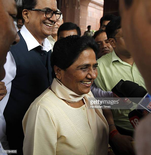 Bahujan Samaj Party Chief Mayawati arrives at Parliament to attend Monsoon session of Parliament on August 8 2013 in New Delhi India She welcomed the...