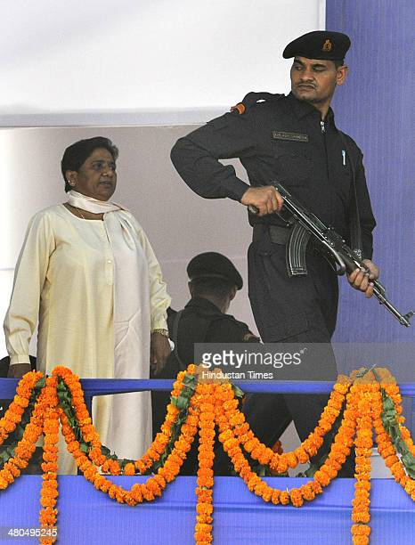 Bahujan Samaj Party chief Mayawati during an election campaign rally at Leisure Valley on March 25 2014 in Gurgaon India