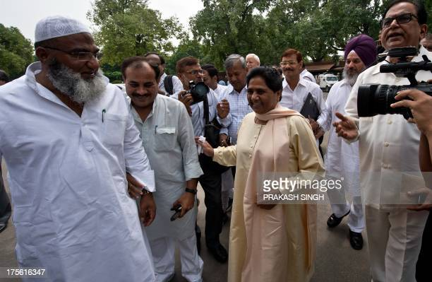 Bahujan Samaj Party leader Mayawati arrives during the start of the monsoon session at Parliament in New Delhi on August 5 2013 India's parliament is...
