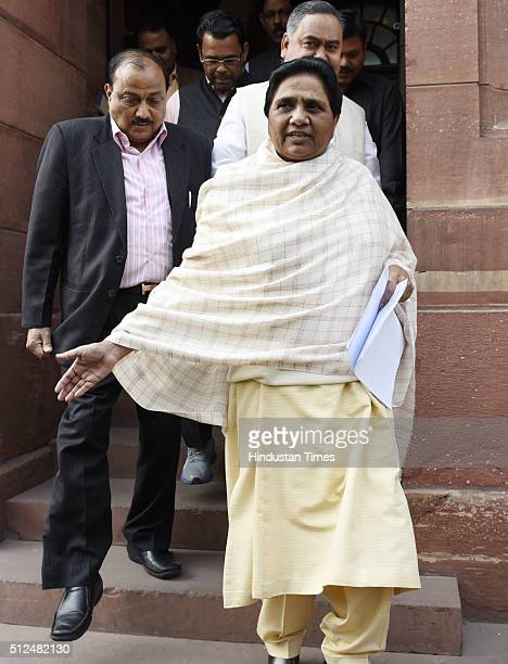 Bahujan Samaj Party leader Mayawati at Parliament during the Budget Session on February 26 2016 in New Delhi India Both the Houses of Parliament...