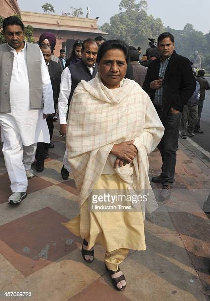 Bahujan Samaj Party President Mayawati arrives at Parliament during the ongoing Parliament Winter Session on December 16 2013 in New Delhi India...