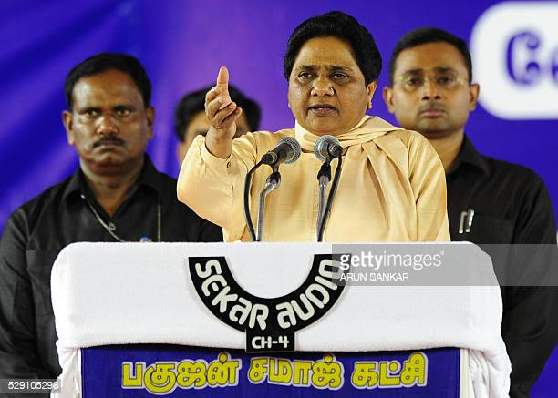 Bahujan Samaj Partyleader Mayawati gestures as she addresses supporters during an election rally in Chennai on May 8 ahead of voting in state...