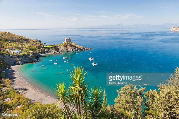 baia azzurra and torre crawford in san nicola arcella, calabria italy - calabria stock pictures, royalty-free photos & images