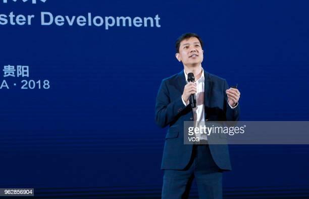 Baidu CEO Robin Li Yanhong makes a speech during the China International Big Data Industry Expo 2018 at Guiyang International Eco-Conference Center...
