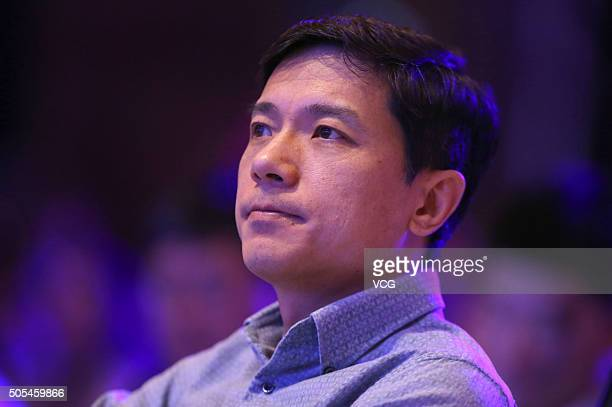 Baidu Chairman and CEO Robin Li reacts during the Future Forum Annual Conference 2016 at China World Trade Center Tower III on January 17 2016 in...