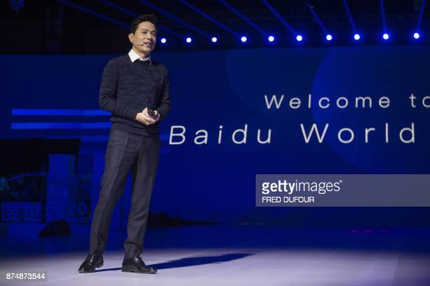 Baidu cofounder and chief executive Robin Li speaks during the annual Baidu World Technology Conference in Beijing on November 16 2017 / AFP PHOTO /...