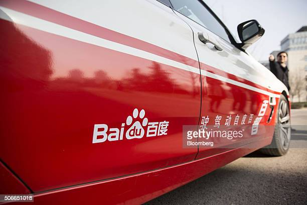 A Baidu Inc logo is displayed on the company's autonomous car at the company's headquarters in Beijing China on Tuesday Jan 19 2016 Wang Jing the...
