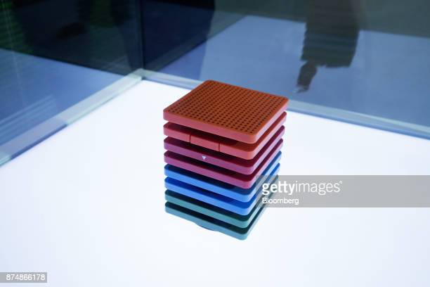 Baidu Inc's Raven H smart speaker stands on display at the Baidu World Technology Conference in Beijing China on Thursday Nov 16 2017 Baidu has...